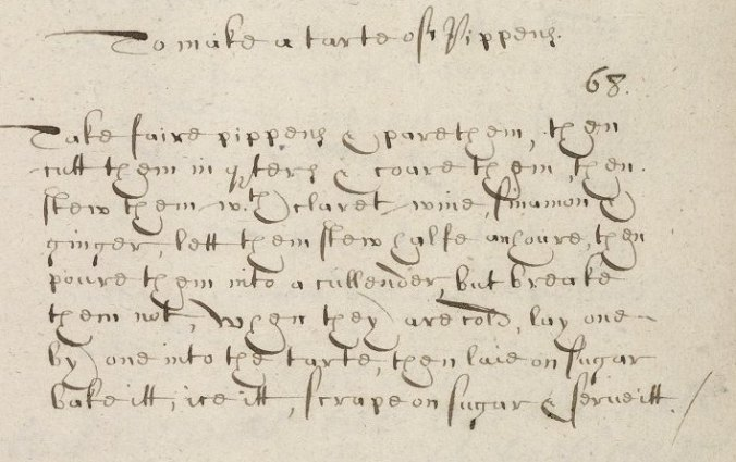 recipe in original manuscript
