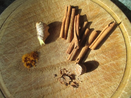 Spices on a cutting board