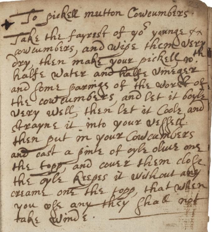 recipe for pickled cucumbers in manuscript
