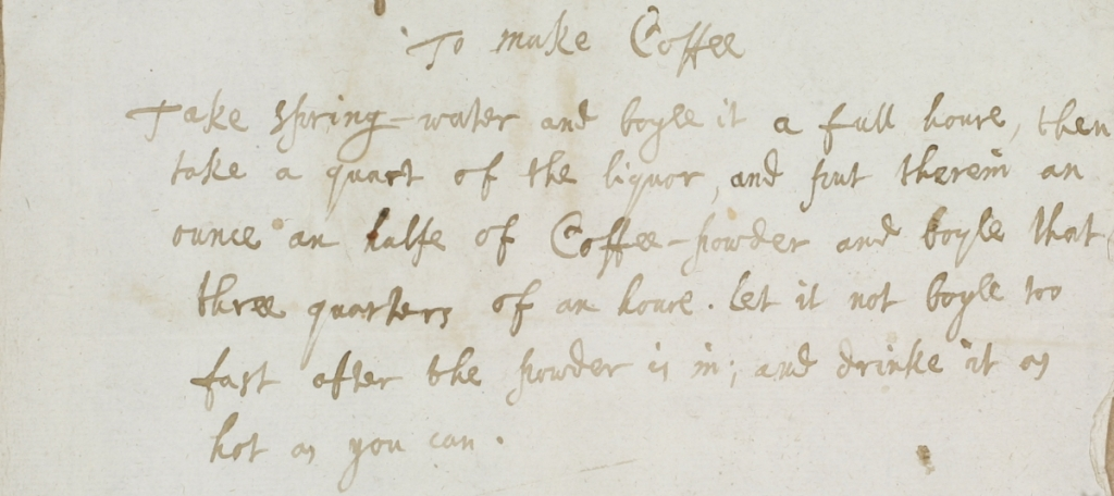 Image of manuscript page including coffee recipe.